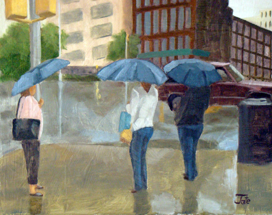 3 In The Rain Painting  - 3 In The Rain Fine Art Print