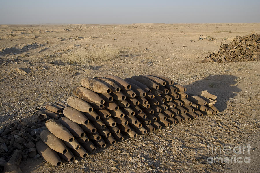 Inert Artillery Shells Are Stacked Photograph