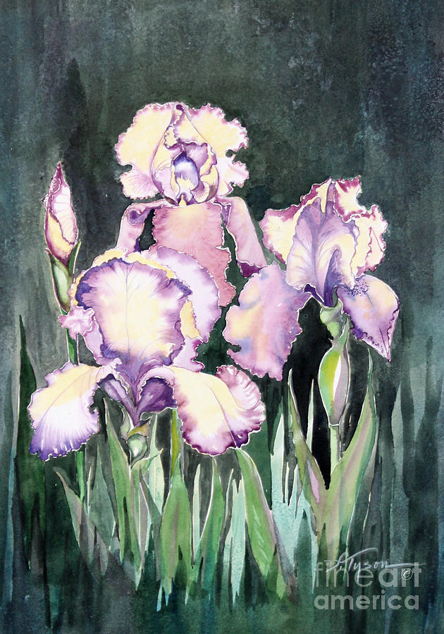 Purple Iris Painting - Iris by Diana  Tyson