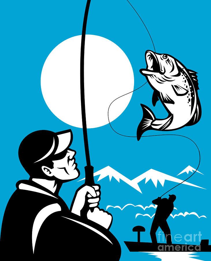 Largemouth Bass Fish And Fly Fisherman Digital Art