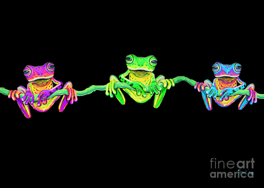3 Little Frogs Painting  - 3 Little Frogs Fine Art Print