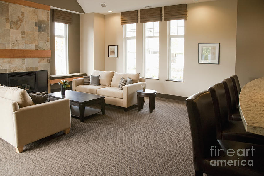 Living Room In An Upscale Home Photograph