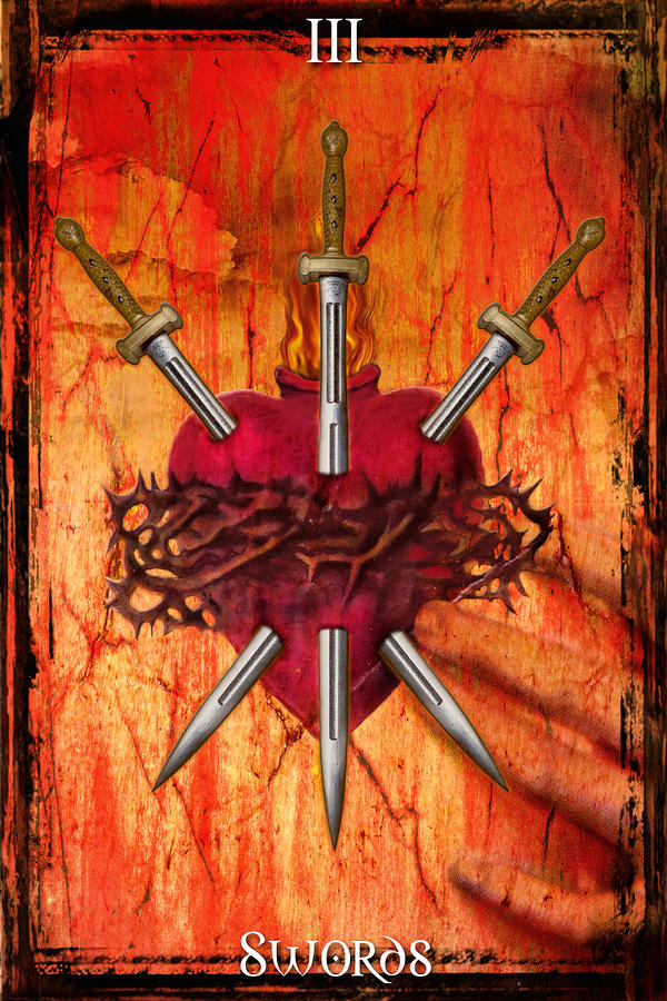 3 Of Swords Digital Art  - 3 Of Swords Fine Art Print