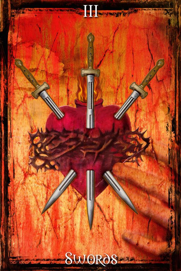 3 Of Swords Digital Art