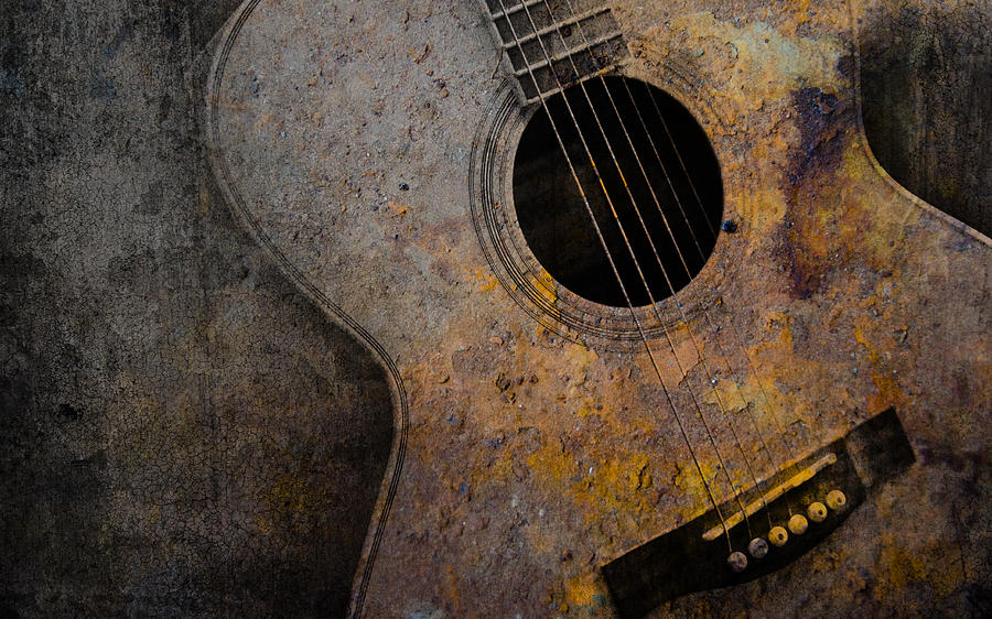 Old Guitar Mixed Media  - Old Guitar Fine Art Print