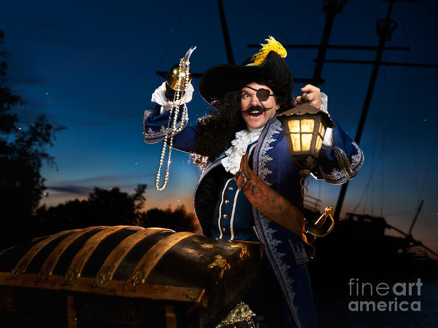 Pirate With A Treasure Chest Photograph  - Pirate With A Treasure Chest Fine Art Print
