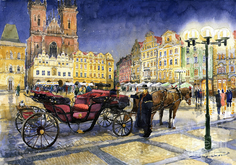 Prague Old Town Square Painting  - Prague Old Town Square Fine Art Print