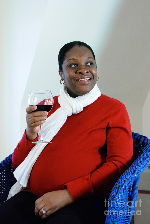 Pregnant Woman Drinking Wine Photograph