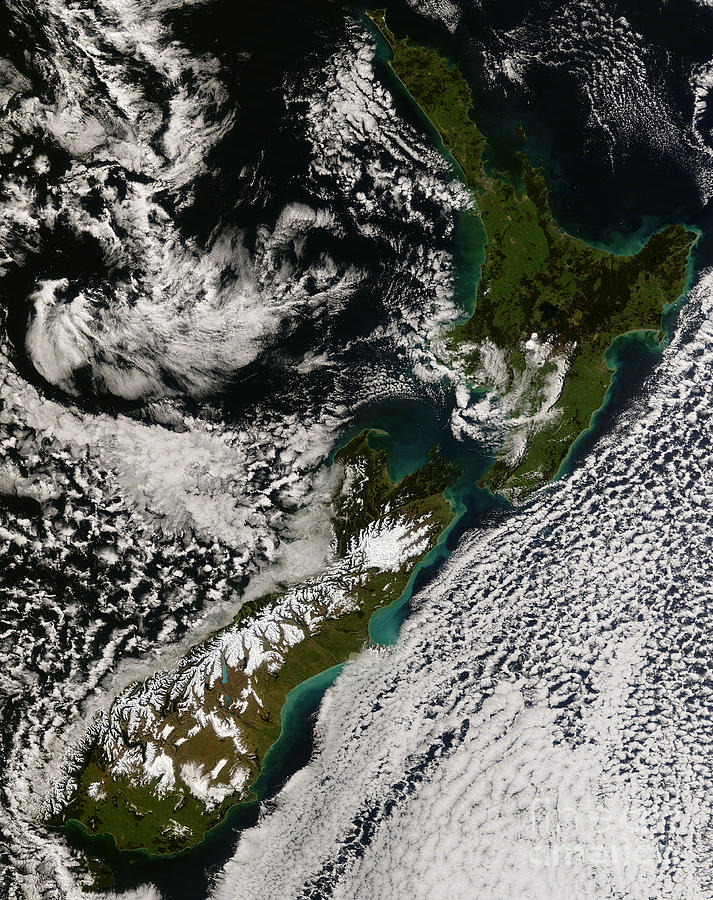Landmass Photograph - Satellite View Of New Zealand by Stocktrek Images