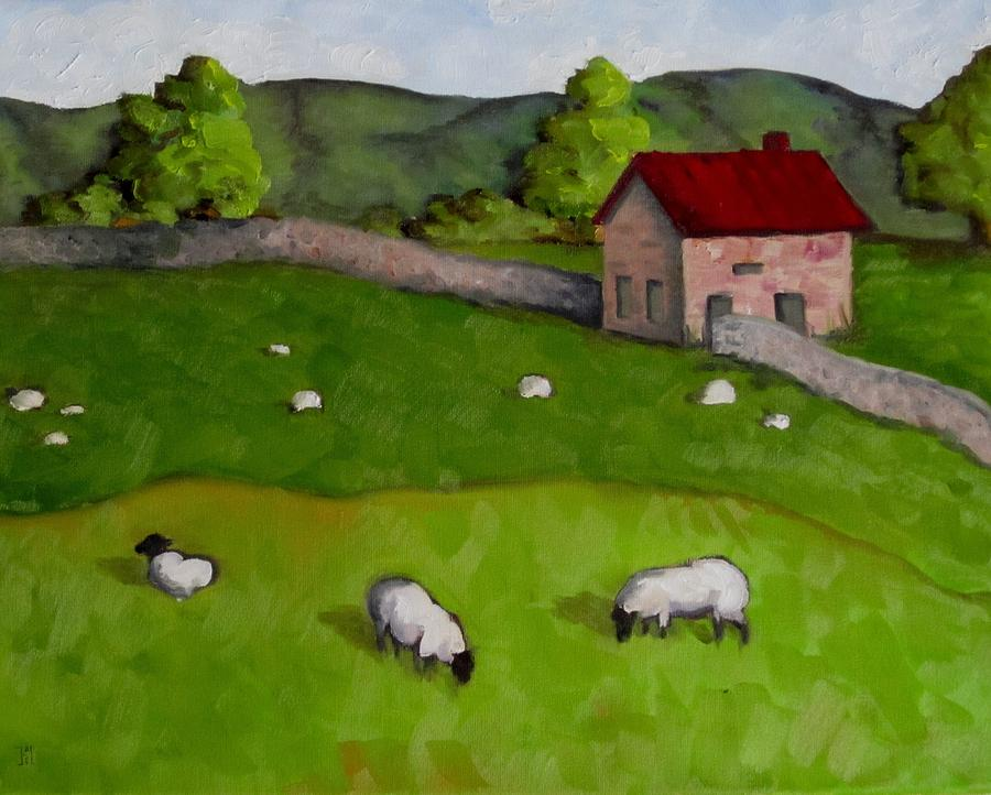 3 Sheep On The Farm Painting  - 3 Sheep On The Farm Fine Art Print