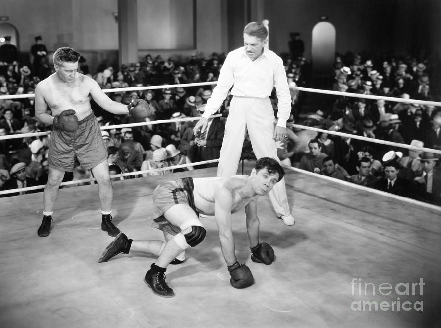 Silent Film Still: Boxing Photograph  - Silent Film Still: Boxing Fine Art Print