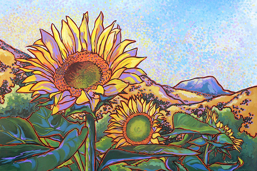 3 Sunflowers Painting  - 3 Sunflowers Fine Art Print