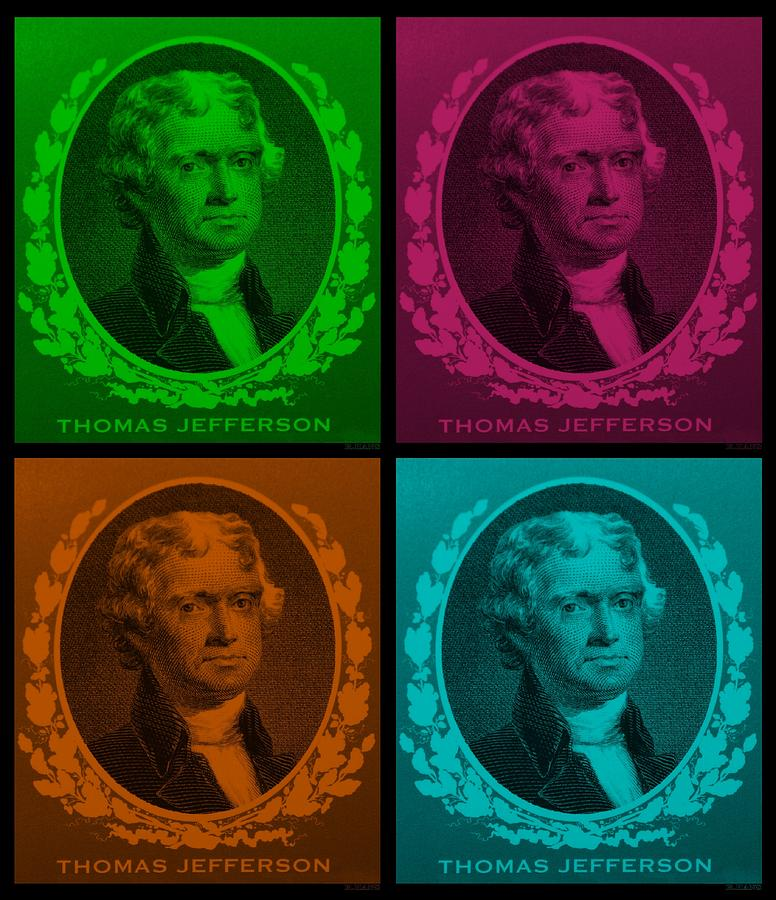 Thomas Jefferson Photograph - Thomas Jefferson In Quad Colors by Rob Hans