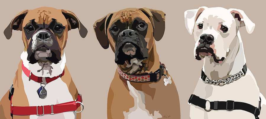 Three Boxers Digital Art