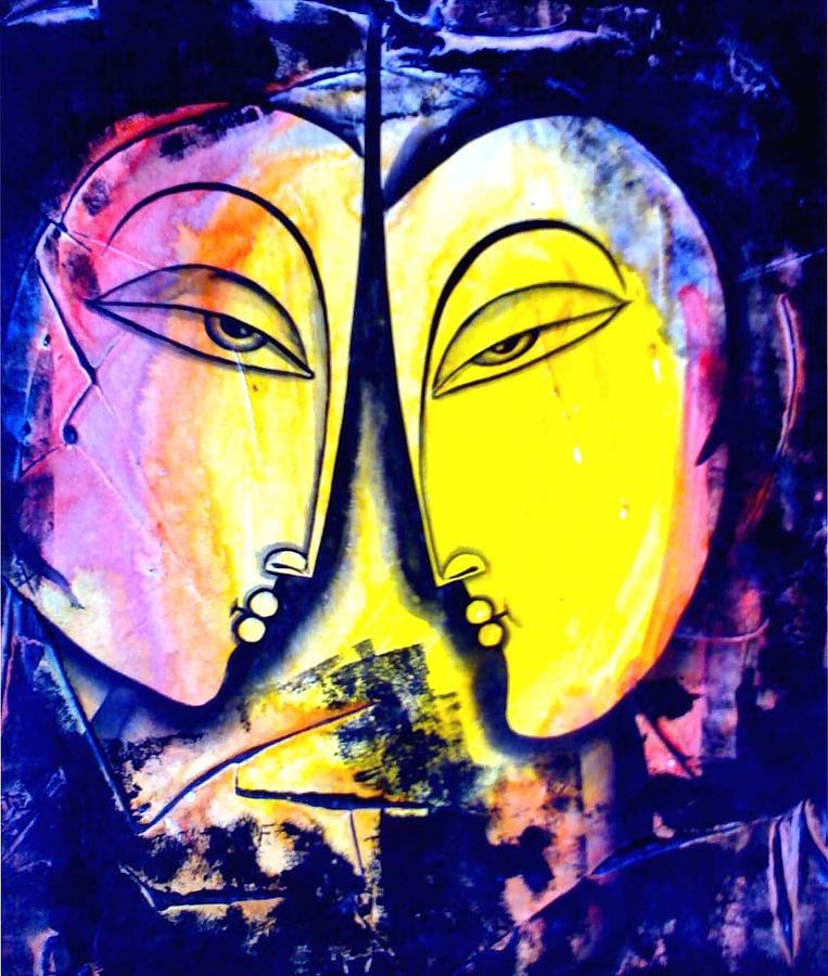 Figurative New Age Painting - Two Women by Keshaw Kumar