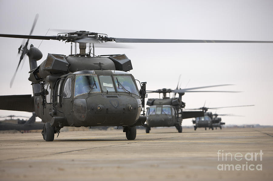 Uh-60 Black Hawks Taxis Photograph