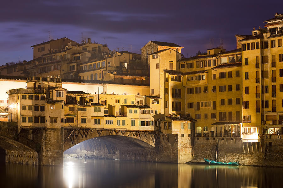 Vecchio Bridge At Night Photograph  - Vecchio Bridge At Night Fine Art Print