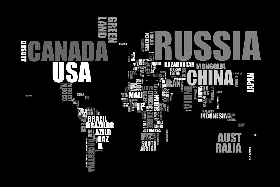 World Map In Words Digital Art