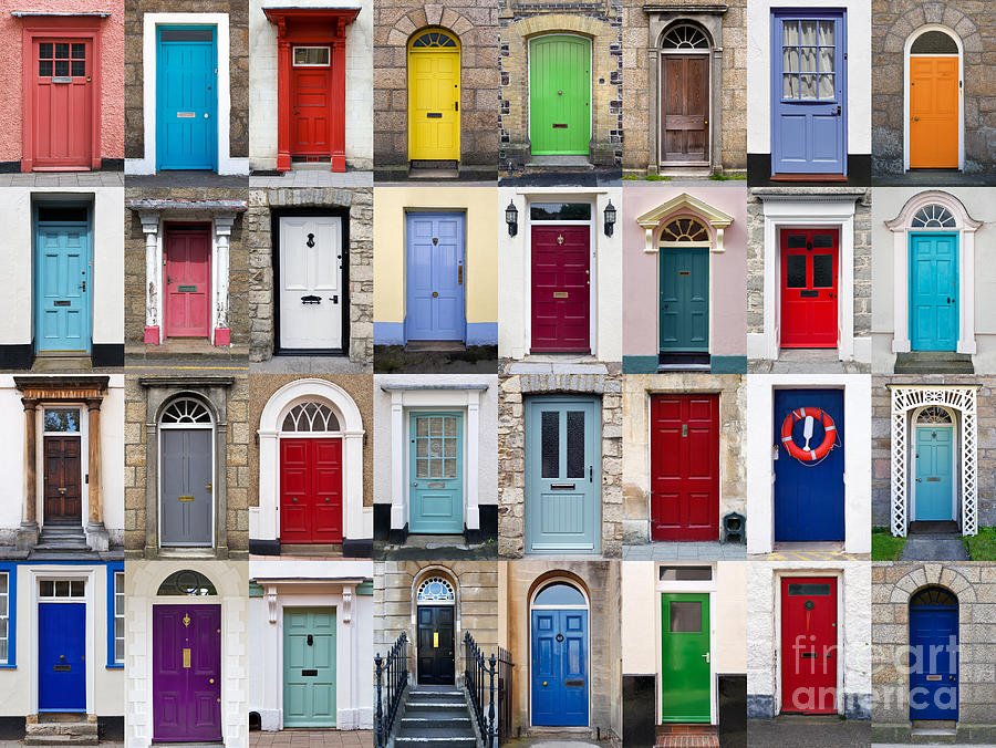 32 Front Doors Horizontal Collage  Photograph