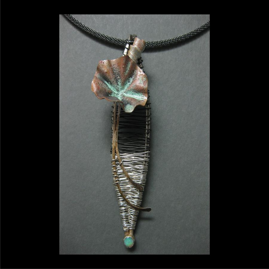 Woven Wire Jewelry - 336 Fored And Woven Flower by Brenda Berdnik