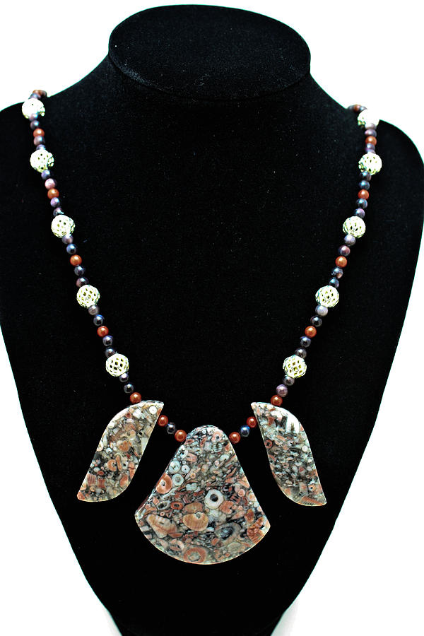 3521 Crinoid Fossil Jasper Necklace Jewelry