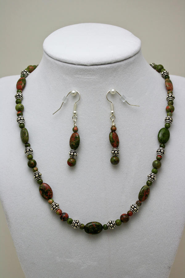 3525 Unakite Necklace And Earring Set Jewelry