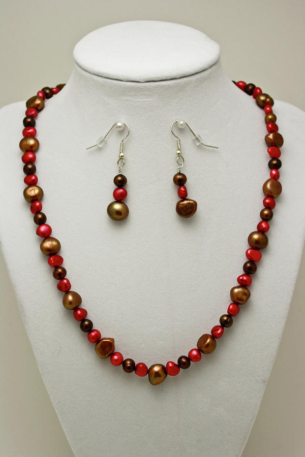 3536 Freshwater Pearl Necklace And Earring Set Jewelry
