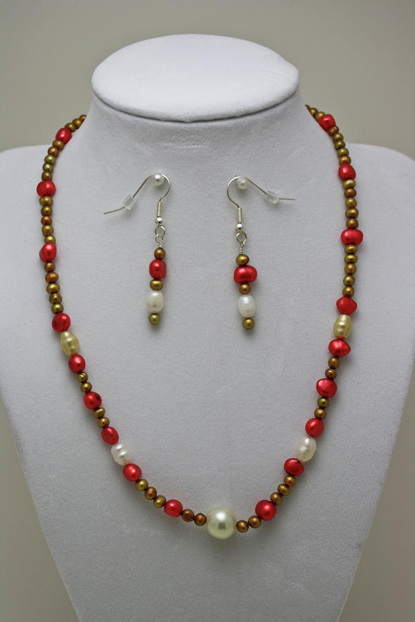 3539 Pearl Necklace And Earring Set Jewelry