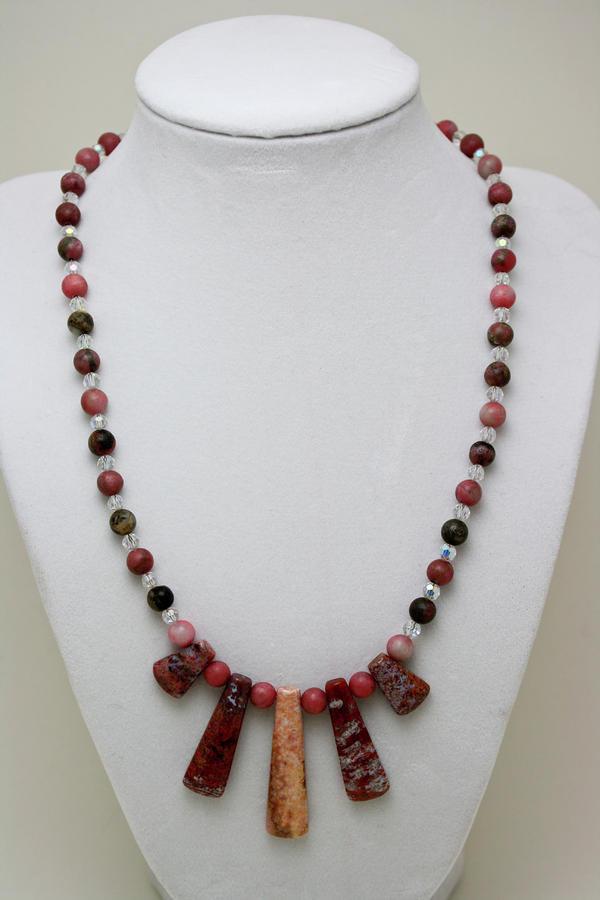 3541 Rhodonite And Jasper Necklace Jewelry