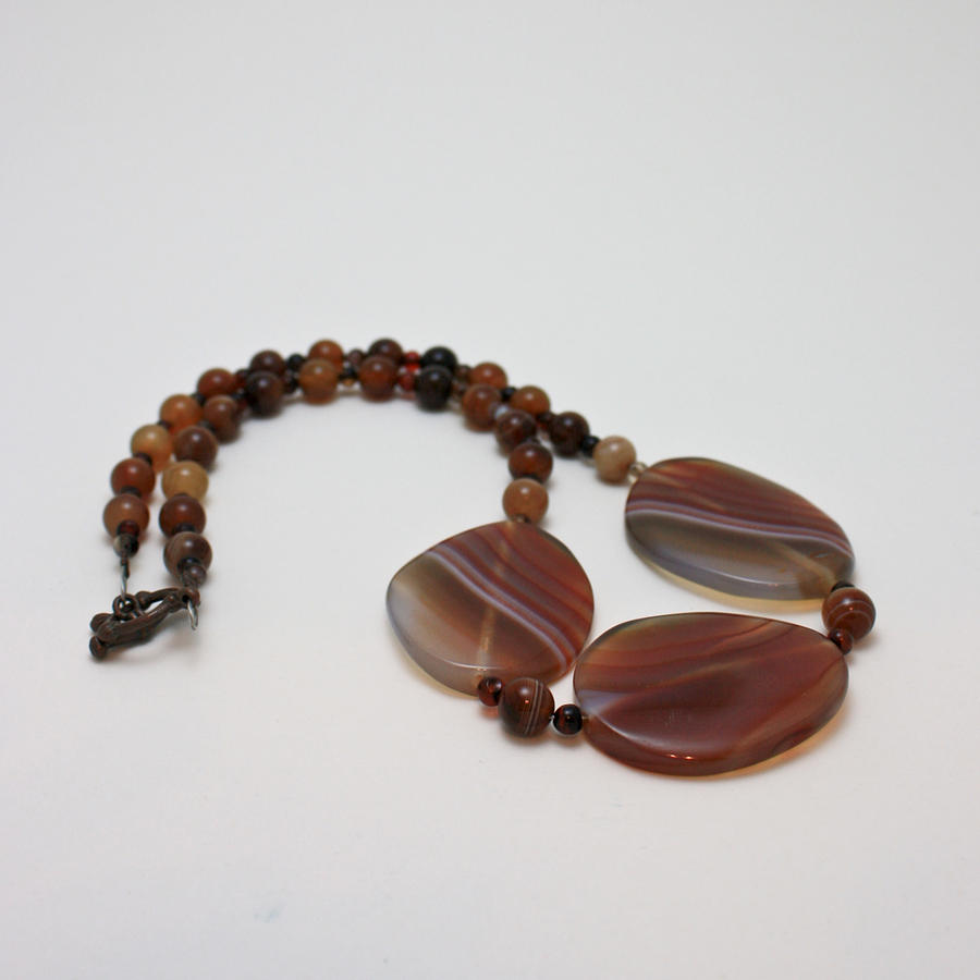 3543 Coffee Vein Agate Necklace Jewelry