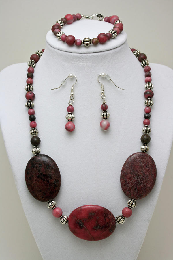 3544 Rhodonite Necklace Bracelet And Earring Set Jewelry