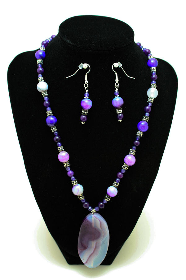 3547 Purple Veined Agate Set Jewelry