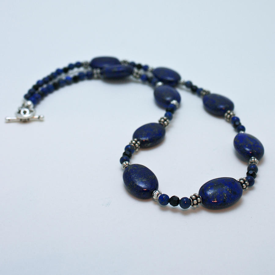 3553 Lapis Lazuli Necklace And Earrings Set Jewelry