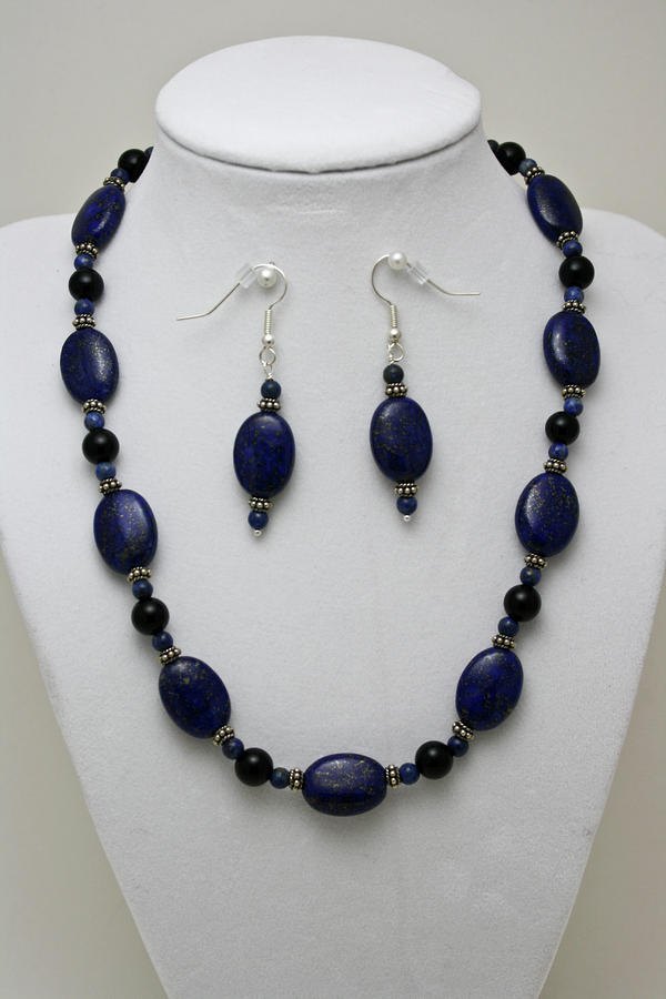 3555 Lapis Lazuli Necklace And Earring Set Jewelry