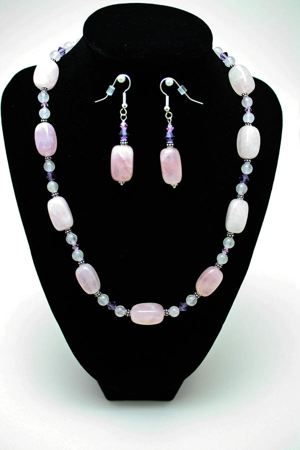 3560 Rose Quartz Necklace And Earrings Set Jewelry 
