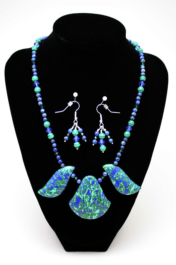 3582 Lapis Lazuli Malachite Necklace And Earring Set Jewelry