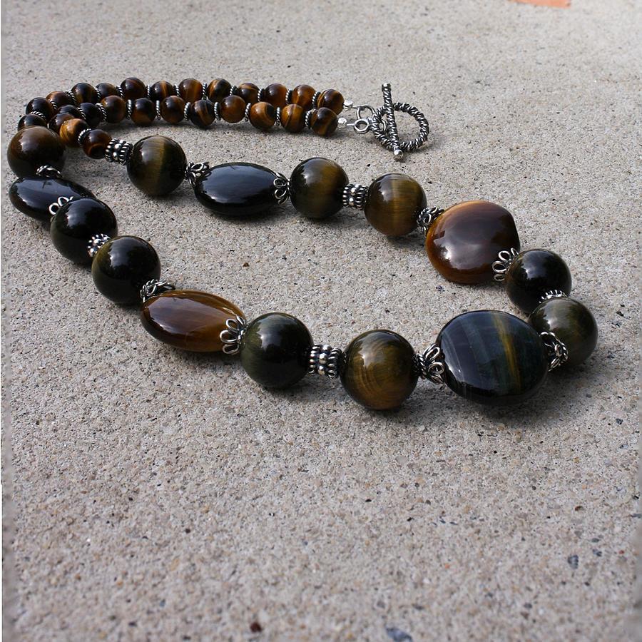 Original Handmade Jewelry Jewelry - 3595 Tigereye And Bali Sterling Silver Necklace by Teresa Mucha