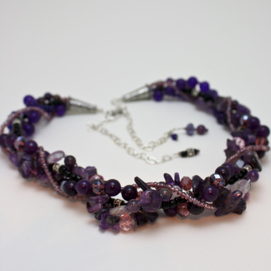 3607 Multi Strand Adjustable Amethyst Necklace Jewelry 