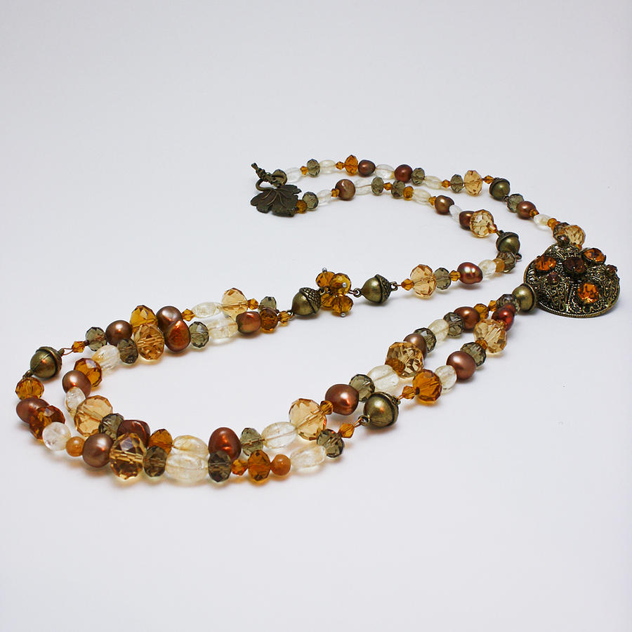 3615 Long Pearl Crystal And Citrine Necklace Featuring Vintage Brass Brooch  Jewelry