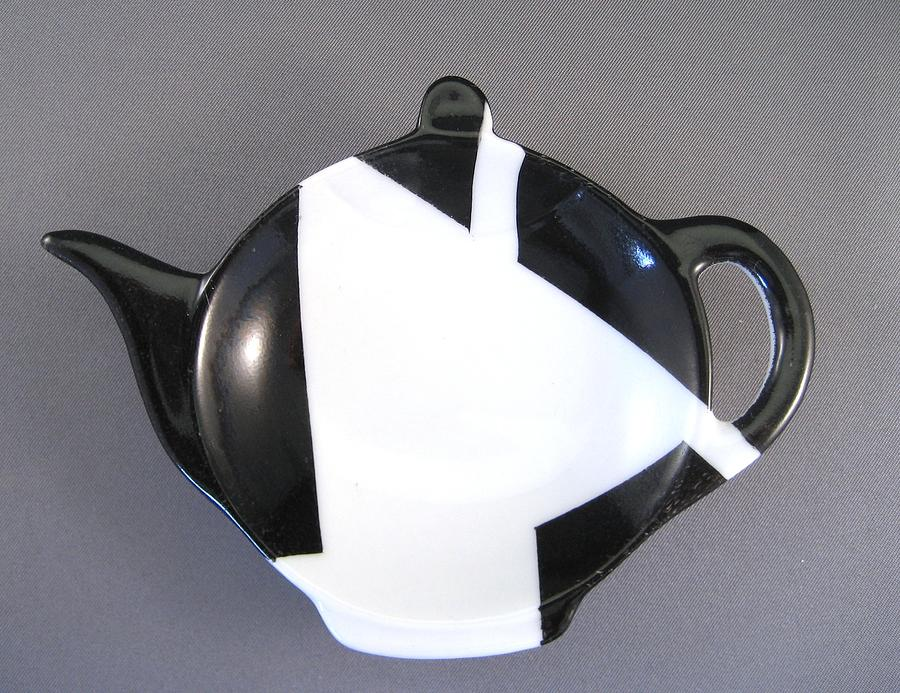 367 Teabag Holder Black White Ceramic Art 