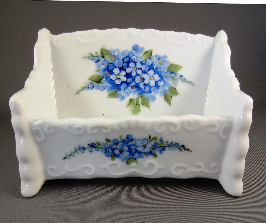 Porcelain Ceramic Art - 377 Cardholder With Forget-me-nots by Wilma Manhardt