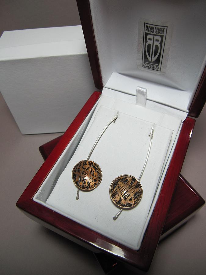 Graphic Jewelry - 385 Brass Etching Sterling Silver Earrings by Brenda Berdnik