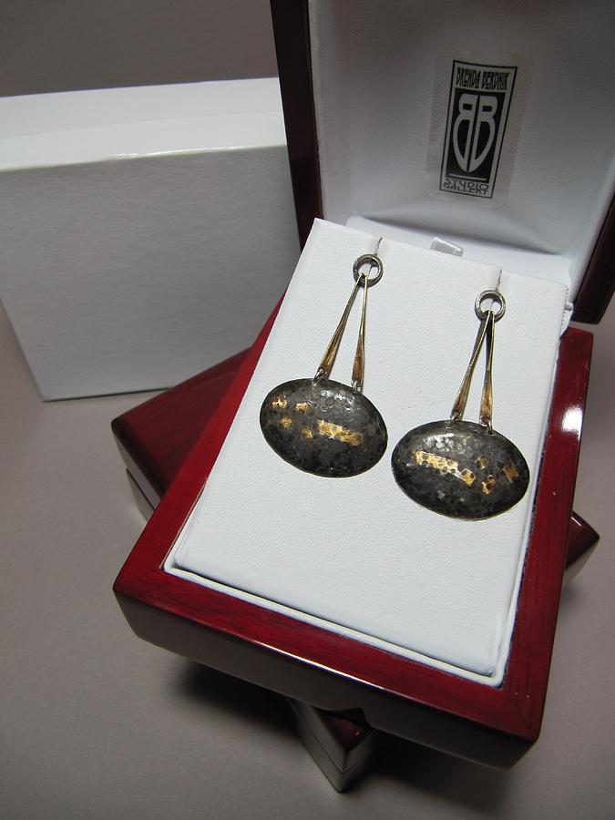 Oriental Jewelry - 387 Sterling Silver And 14k Gold Foil Kumboo Earrings by Brenda Berdnik
