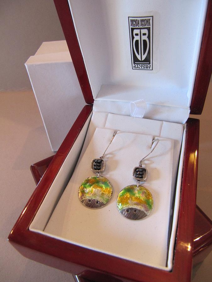 390 Fine Silver Enamel Earrings Jewelry