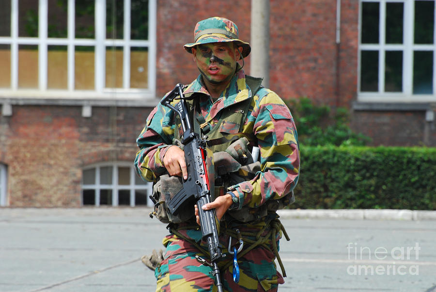 A Paratrooper Of The Belgian Army Photograph
