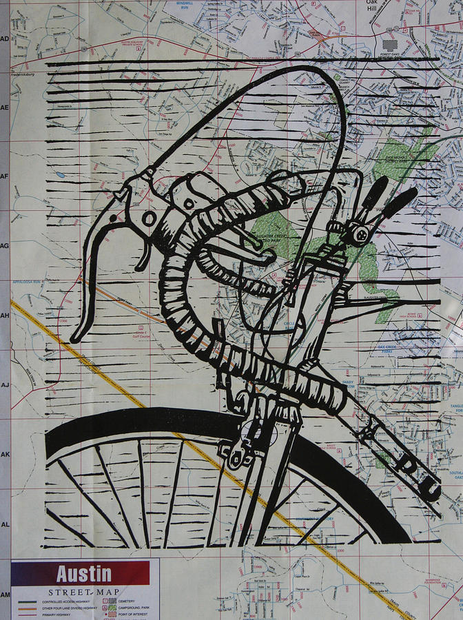 Bike 2 On Map Drawing  - Bike 2 On Map Fine Art Print