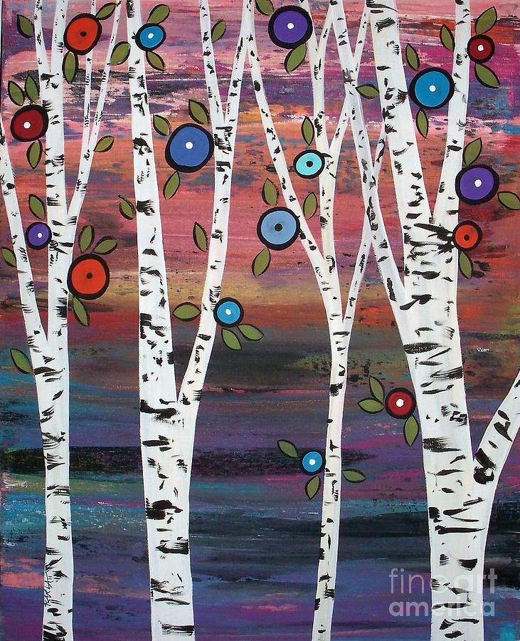 4 Birches Painting