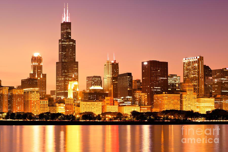 Chicago Skyline At Night Photograph