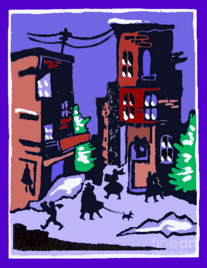 Christmas Street Scene Painting
