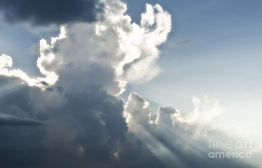Cloudy Sky With Sun Rays Photograph